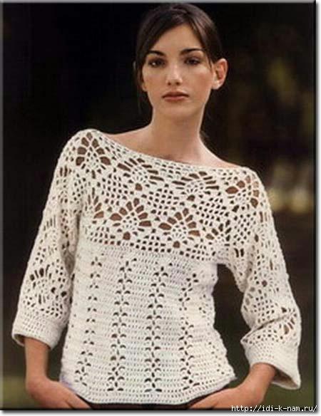 как связать красивый летний джемпер, вязаный женский свитерок, схема вязания ажурного джемпера свитера,