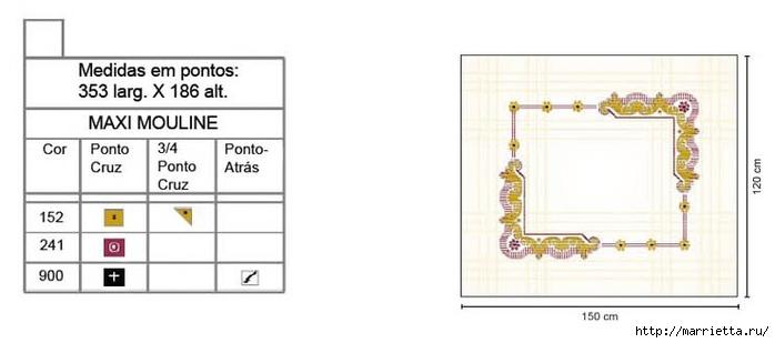 Стильная вышивка для скатерти. Схема (10) (700x309, 84Kb)