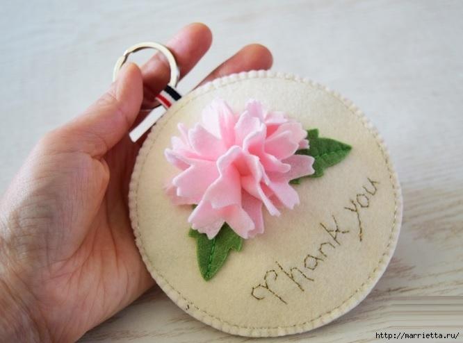Брелок - кошелек с цветком из фетра (6) (666x494, 142Kb)