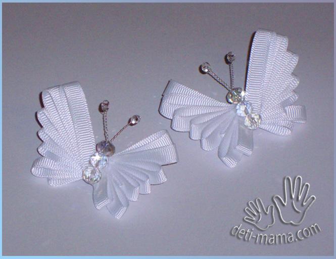 Бабочки своими руками из атласной ленты