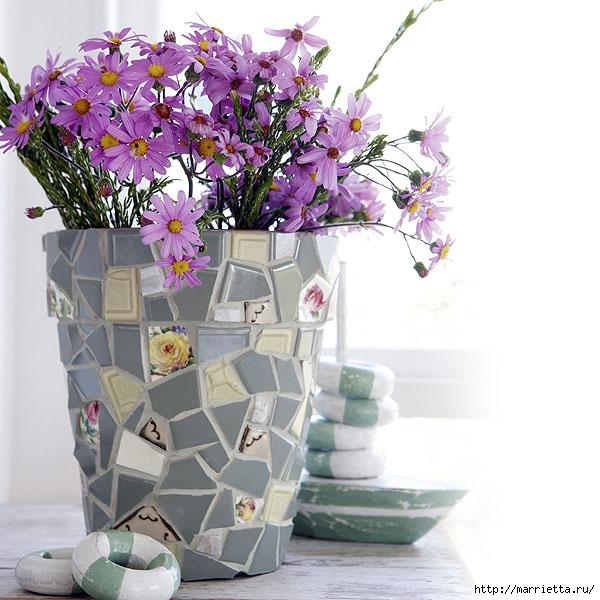 Идеи декорирования и винтажный декупаж на цветочных горшках (1) (600x600, 206Kb)