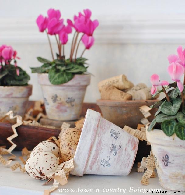 Идеи декорирования и винтажный декупаж на цветочных горшках (12) (608x640, 197Kb)