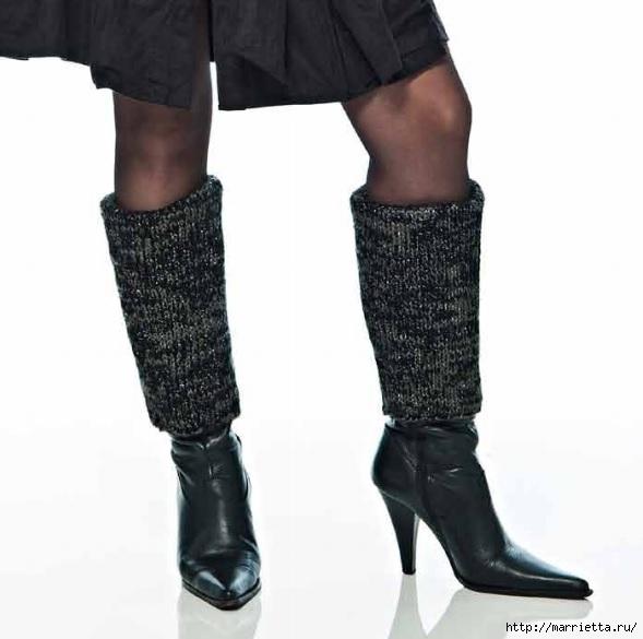 Вязаные спицами гамаши и обвязка зимних ботинок крючком (5) (589x585, 106Kb)