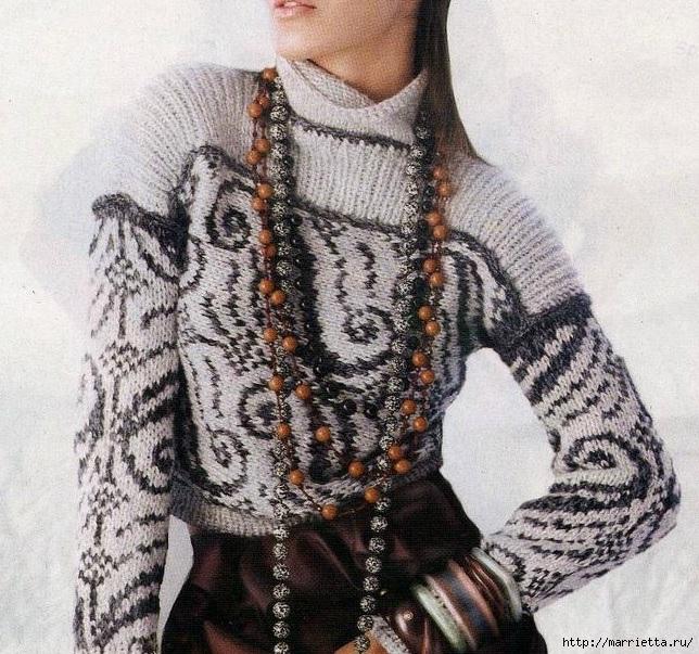 Пуловер и безрукавка красивым узором спицами (6) (644x603, 337Kb)