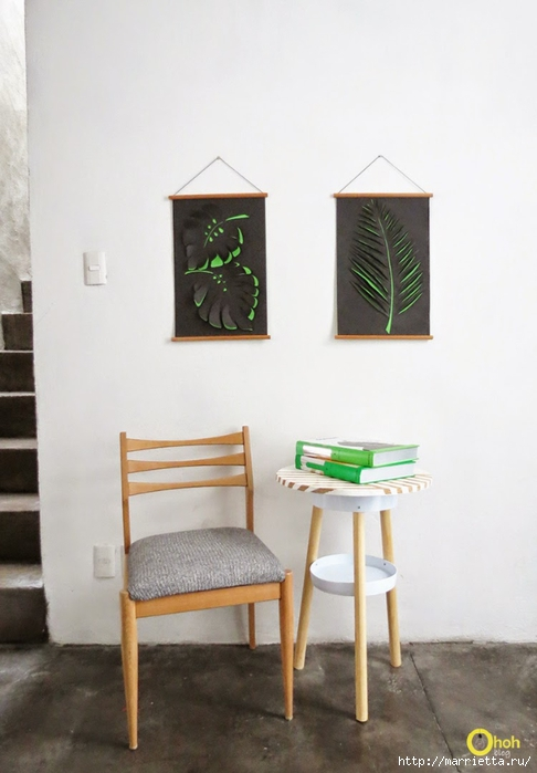 3D листья на стене. Панно из бумаги своими руками (3) (486x700, 171Kb)