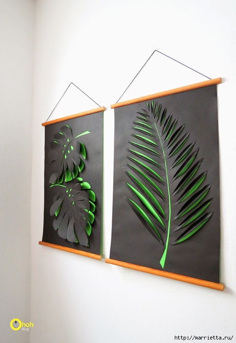 3D листья на стене. Панно из бумаги своими руками (4) (482x700, 182Kb)
