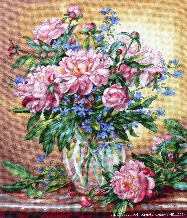 Stitchart-Peonies-and-Canterbury-Bells0 (600x700, 575Kb)
