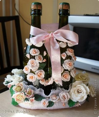 Розы из ткани и свадебная корзинка из картона своими руками (5) (406x480, 169Kb)