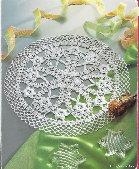 Брюггское кружево крючком. Салфетки (28) (573x700, 400Kb)