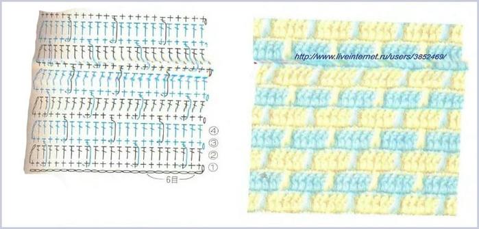 Схемы вязание крючком двухцветных узоров схемы