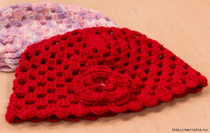 Детская шапочка с цветком крючком. Схема (1) (700x444, 232Kb)