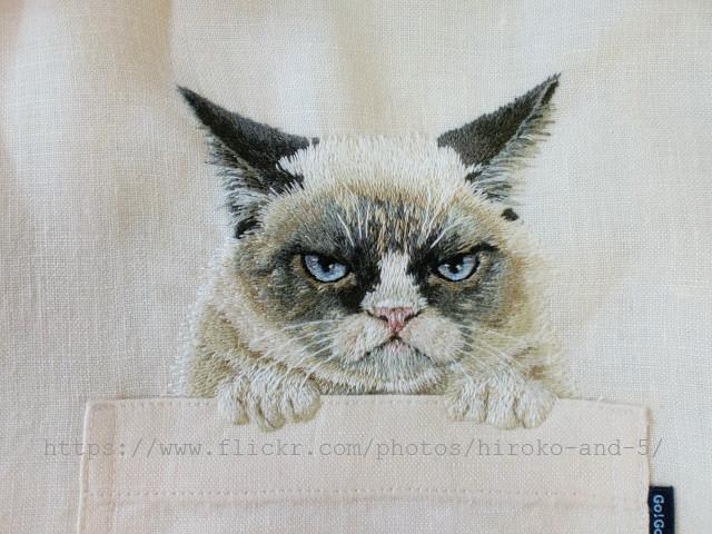 Вышивка гладью кот