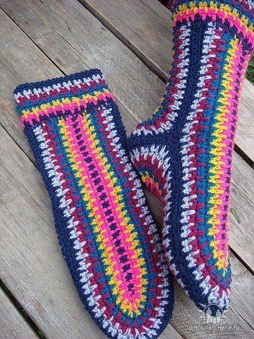 Простой метод вязания носков крючком