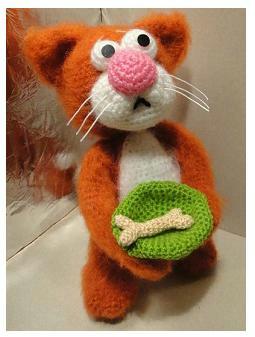 вязаный котик, как связать котика, как связать кота, схема вязания кота Хьюго Пьюго,
