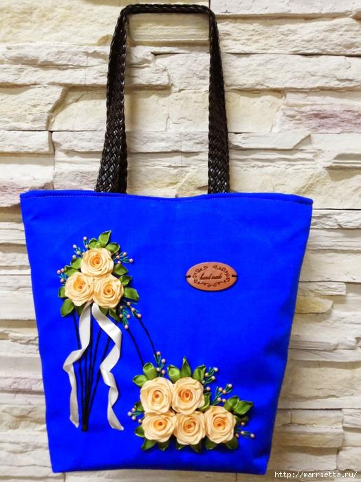 Туфелька на сумочке. Красивые идеи сумок с вышивкой лентами (1) (525x700, 309Kb)