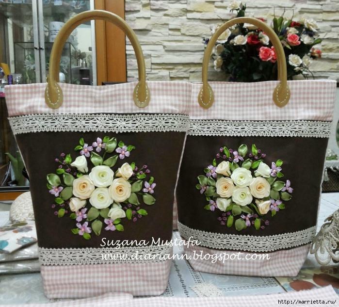 Туфелька на сумочке. Красивые идеи сумок с вышивкой лентами (3) (700x633, 387Kb)