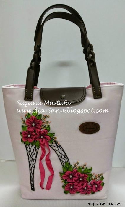 Туфелька на сумочке. Красивые идеи сумок с вышивкой лентами (9) (423x700, 187Kb)