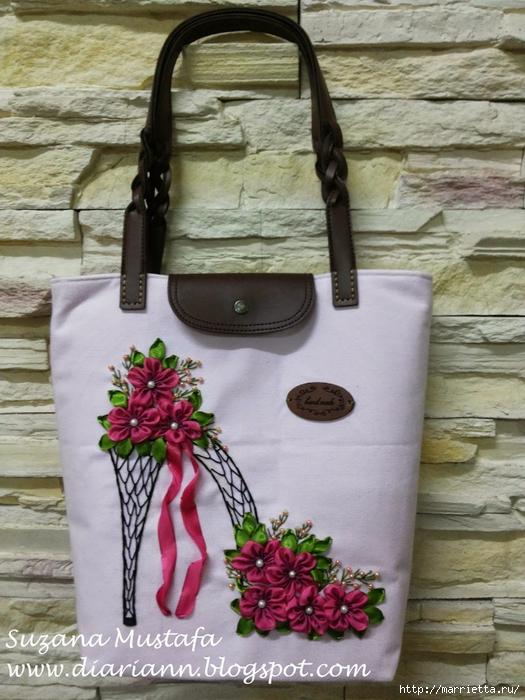 Туфелька на сумочке. Красивые идеи сумок с вышивкой лентами (11) (525x700, 299Kb)