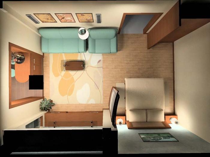 дизайн однокомнатной квартиры план