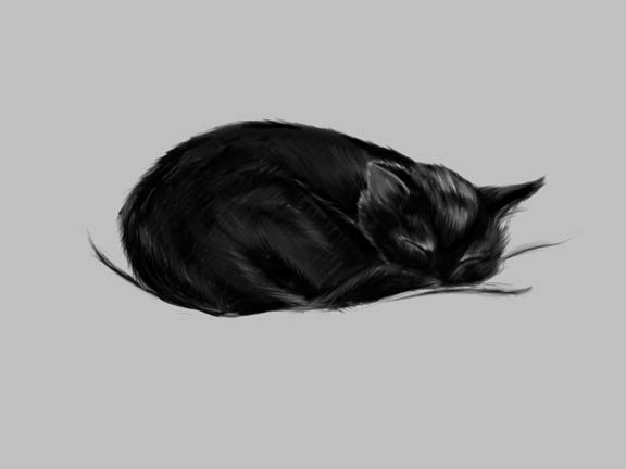 Спящий мультяшный кот