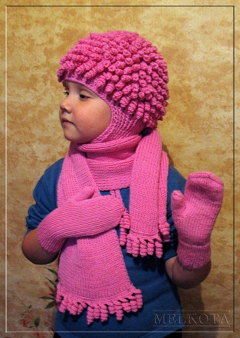 Детский комплект: шапка, шарф,