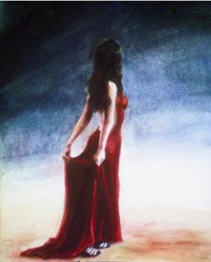 Фото брюнетки со спины в красном платье