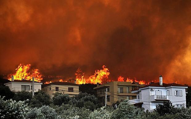 Лесные пожары в Афинах, Греция
