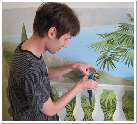 Люди за работой   роспись стен в интерьере