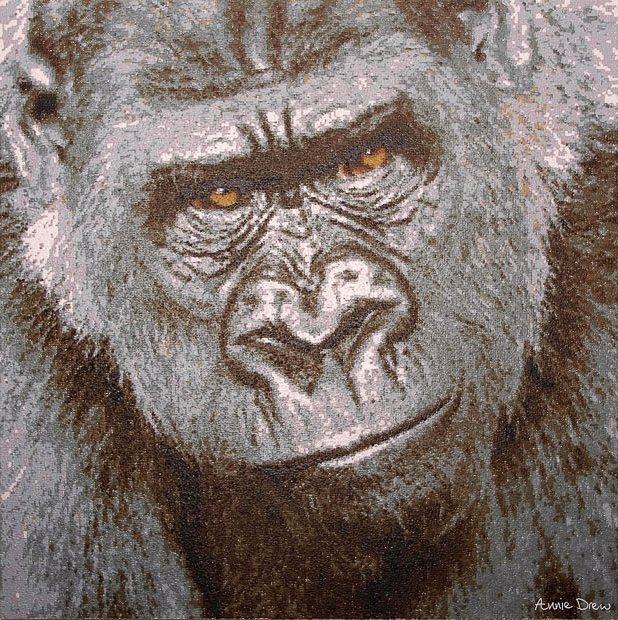 Картина спичкой: Annie Дрю ставит тысячи точек палкой с краской