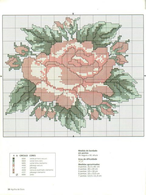 embroidered picutures: rose cross stitch