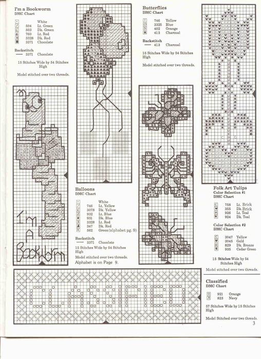 Схемы вышивки закладок для