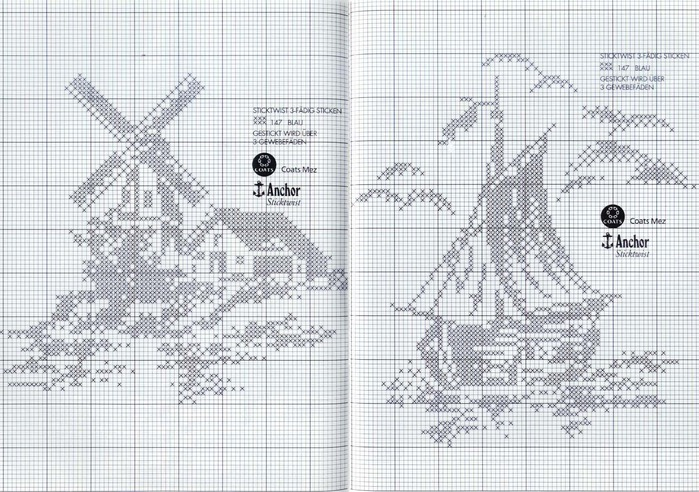 windmills and ship cross stitch