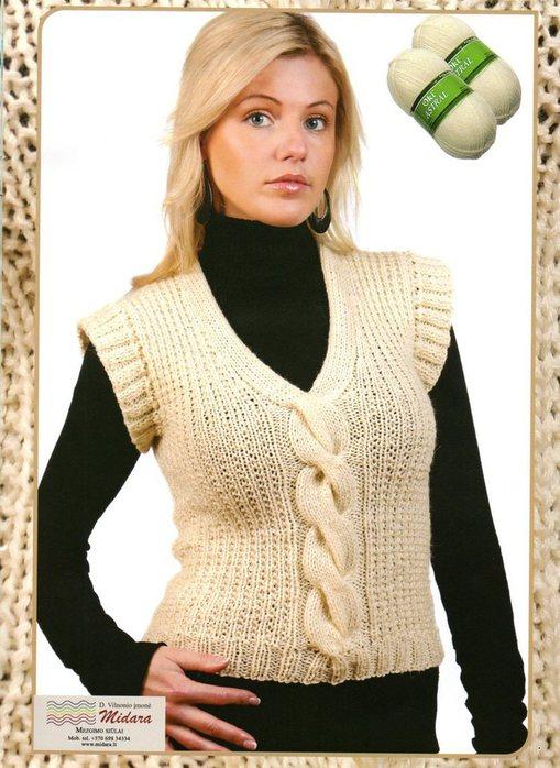 Вязание спицами, жилетка.