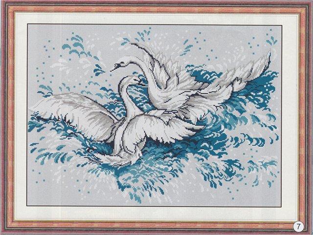 "Схема вышивки ""Лебеди""."