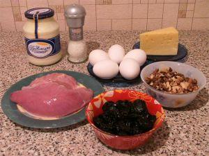 кулинария,рецепты,салаты,новогодний стол,сыр,орехи,майонез,чернослив,филе индейки,яйца,ингредиенты,способ приготовления,новый год