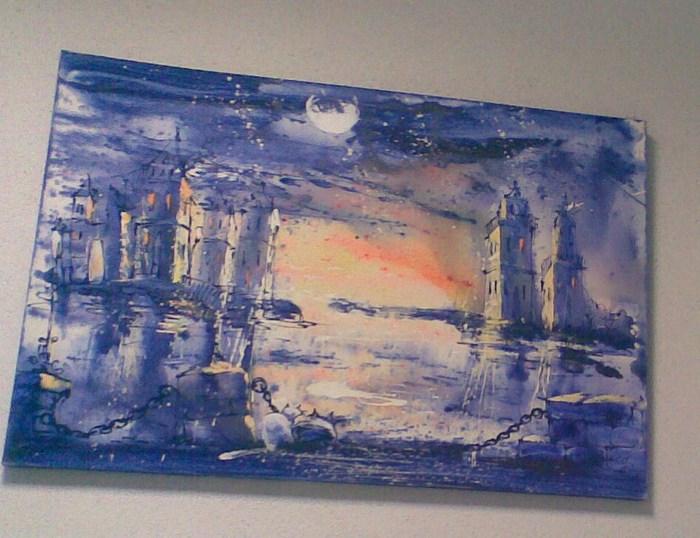 одесский художник, город и коты, картина