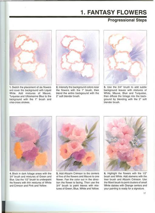 рисовать цветы красками.
