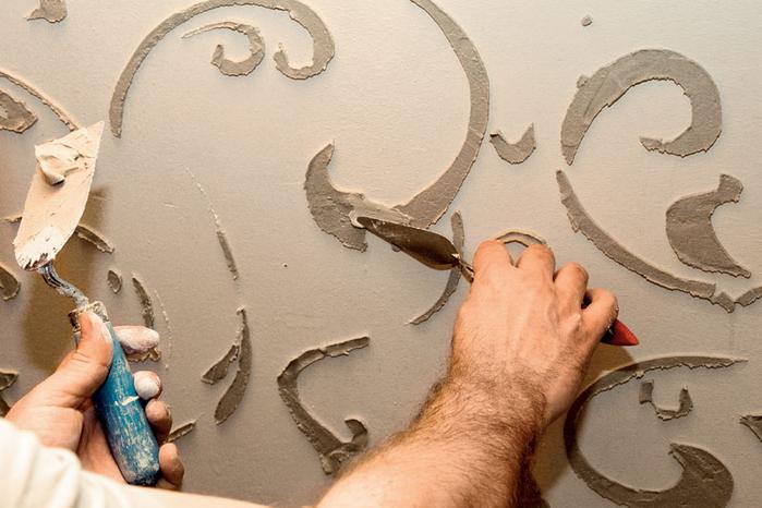 Объемный узор на стене своими руками