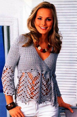 женский пуловер с кружевной каймой1 (328x500, 53Kb)