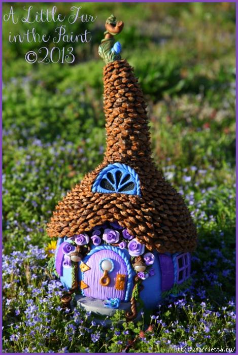 Casas de hadas asombrosas hechas de calabaza, arcilla polimérica y conos (14) (469x700, 327Kb)