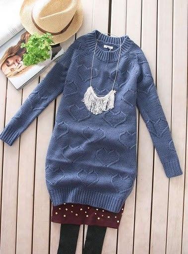 Пуловер С Сердечками