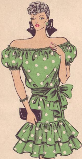 Фасоны и чертежи выкроек платьев с воланами, драпировками по линии горловины и низа.