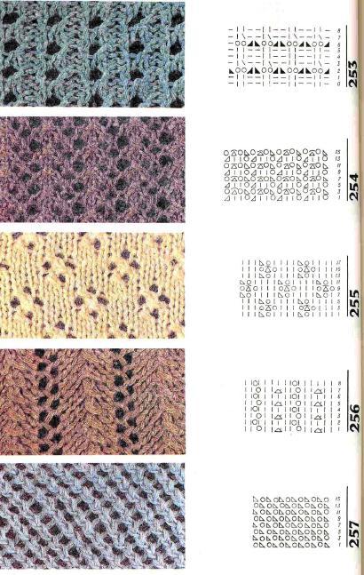Узоры с дырками спицами со схемами