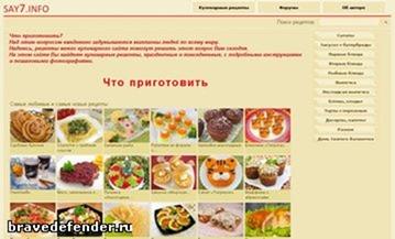 Популярные кулинарные сайты рунета