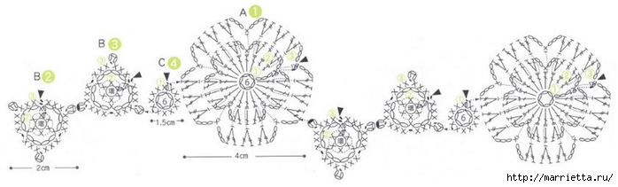 Вязаные крючком фрагменты для украшения тапочек (10) (700x211, 81Kb)