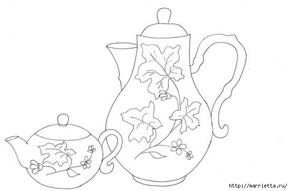 Скатерть с вышивкой и аппликацией чайного сервиза (1) (597x392, 71Kb)