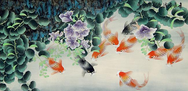 рыбки живопись 1 (650x315, 317Kb)