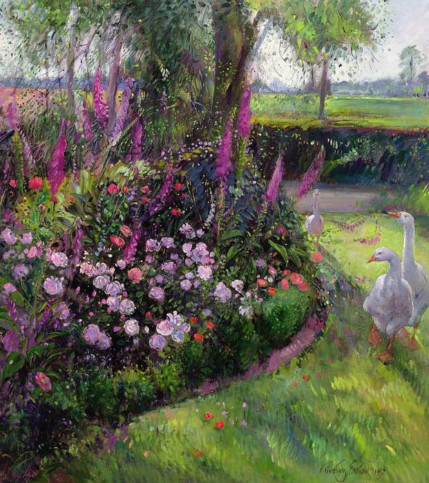 rose-bed-and-geese-timothy-easton (621x700, 779Kb)