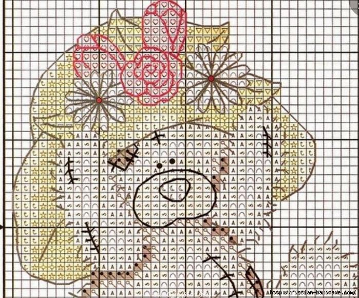 Плюшевый мишка. Схемы вышивки крестиком (1) (700x580, 430Kb)