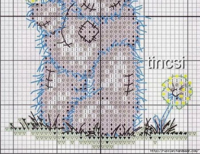 Плюшевый мишка. Схемы вышивки крестиком (7) (700x538, 333Kb)